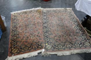 Pair of rectangular fringed rugs, 92 cm wide,