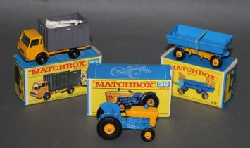 Three reproduction Matchbox Series diecast model vehicles, to comprise a cattle truck (37),