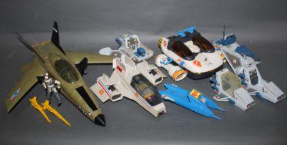 A group of Action Force and GI Joe model aircraft,