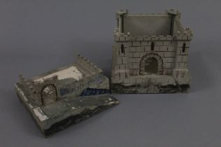 A wooden and painted toy fort, in two sections,