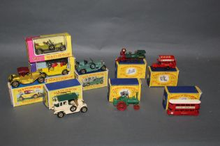 """A group of Matchbox """"Models of Yesteryear"""" diecast model vehicles,"""