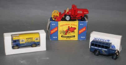 "A Matchbox Major ""Massey Ferguson 780"" combine harvester, having a red body, yellow blades,"