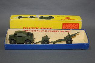 A Dinky 25-pounder gun unit, comprising a field gun, a trailer, and a field artillery tractor,