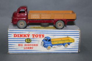 A Dinky big Bedford lorry (922), having a maroon cab and fawn back and hubs,