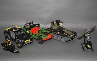 A group of five Action Force and GI Joe plastic vehicles, canoe, and helicopter,