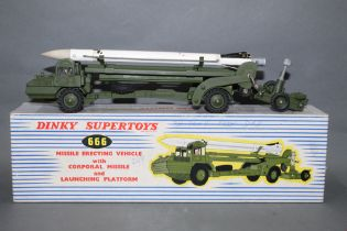 A Dinky Missile Erecting Vehicle (666), together with Corporal missile and launching platform,