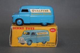 """A Dinky Bedford van (481), having a blue body with """"Ovaltine"""","""