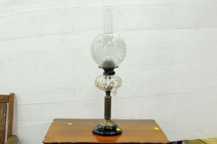 Victorian oil lamp with glass reservoir, shade ,
