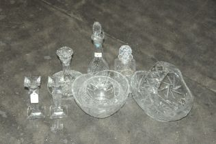 Selection of glassware, cut glass decanters,