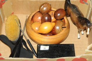 Wooden bowl of fruit, Beswick horse ornament,
