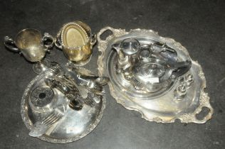 Two trays of plated ware, trophy, teapot, cutlery,