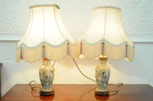 Pair of oriental table lamps and shades