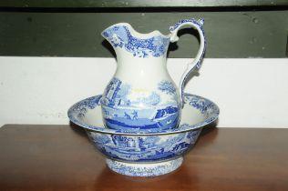 Copeland spode jug and bowl