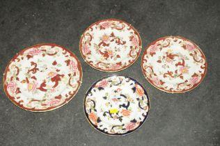 Four decorative Masons plates