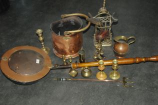 Copper bed warmer and a box of brass ware, coal receiver,