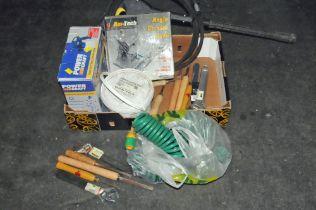 Box of hand tools, angle grinder,