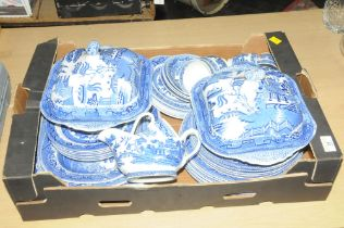 Box of blue and white willow pattern dinnerware and tea ware