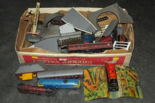Box of 00 railway locomotives track and accessories