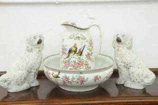 Devon ware jug and bowl,