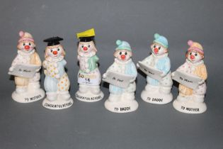 "A set of 6 Beswick pottery clown ""Congratulations"" figures (all seconds)"