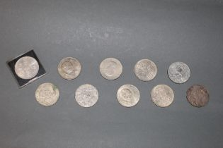 A Victorian 1892 silver crown and 9 other later crowns