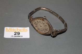 An early 20th century continental ladies Aefina 935 silver wristwatch with Greek key patterned stap