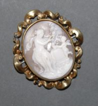 A 19th century gilt metal oval cameo brooch (with repair)