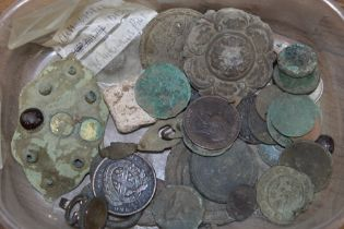 An interesting tray to include coins and mainly detector finds