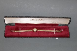 An early 20th century ladies Rone 9ct gold cased wristwatch with integral Milanese style strap,
