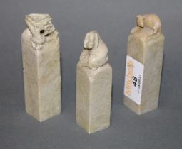 3 Chinese hardstone square section seals (one with damage)