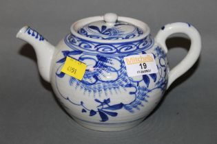 A Chinese blue and white porcelain teapot decorated with leaves (slight chipping to spout)