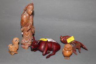 5 oriental carved wooden figures including standing sage (slight damage)