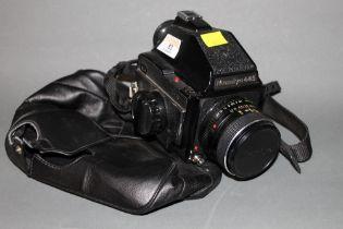 A Mamiya 645 large format camera, G 125849, with Mamiye-Sekor 80 mm lens,