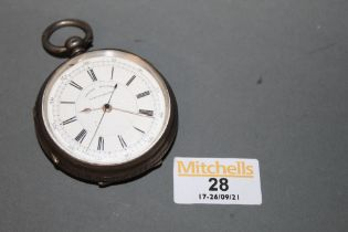 A Victorian silver cased centre seconds chronograph open face watch,