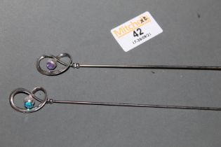 2 early 20th century Charles Horner silver topped hat pins of thistle design,