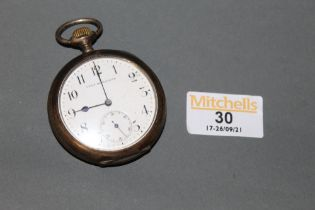 An early 20th century Union Horlogere 800 standard silver cased open face pocket watch