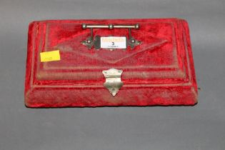An early 20th century Cadbury's cocoa advertising red velvet covered jewellery box (worn to