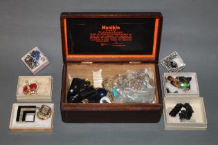 A Manikin cigars mahogany box containing a mixed selection of 19th century and later jewellery,