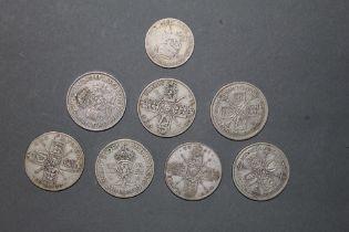 8 UK pre decimal coins - 5 florins, two 2 shillings coins,