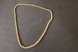 A 9 ct gold rope twist necklace,