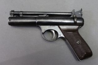 * The Webley Senior cal 22 air pistol with rifled barrel, with no serrations for gripping,