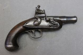 """* A flintlock pocket pistol, with cannon shaped 1 1/2"""" screw off barrel. Overall length 16 cm."""