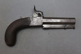 """* Clarke London a percussion pocket pistol with a 3 1/2"""" hexagonal barrel with articulated ramrod,"""