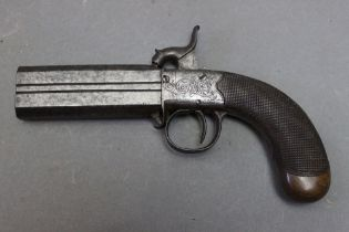"""* An over/under percussion pocket pistol, with 3 1/2"""" barrels. Overall length 19 cm."""