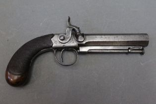 """* A percussion pistol, with a 4"""" hexagonal barrel, with hinged ramrod. Overall length 22 cm."""