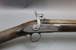 """Smith of London a percussion gun with 32"""" barrel, 16 gauge, hexagonal at the breech end,"""