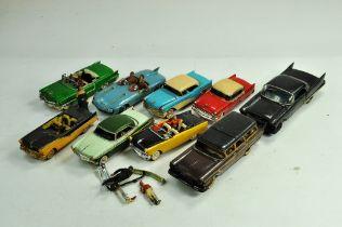 An interesting assortment of assembled Plastic Model Kits depicting classic era vehicles. Some