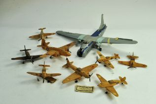 A collection of assembled model aircraft kits comprising vintage maker Airyda. Wooden models require