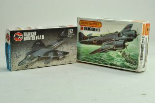 Duo of plastic Model Aircraft Kits comprising Airfix Hawker Hunter in 1/72 plus 1/72 Matchbox