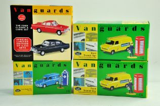 A group of Vanguards 1/43 diecast Classic Car issues comprising Ford Transit duo, Ford Anglia and